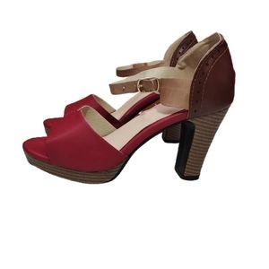 Red Faux Leather Chunky Heel Platform Heels 37